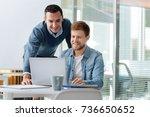 handsome partners preparing... | Shutterstock . vector #736650652