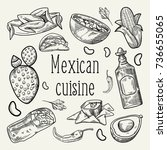 mexican food hand drawn... | Shutterstock .eps vector #736655065