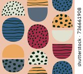 cute simple pattern in nordic... | Shutterstock .eps vector #736661908