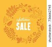 autumn floral frame vector | Shutterstock .eps vector #736662745