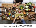 people cooking in the kitchen | Shutterstock . vector #736672702