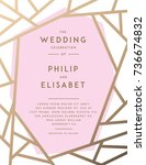 golden wedding invitation with... | Shutterstock .eps vector #736674832