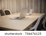 office workplace with laptop ... | Shutterstock . vector #736676125