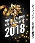 2018 happy new year and merry... | Shutterstock .eps vector #736677922