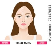 facial aging before and after... | Shutterstock .eps vector #736678585