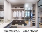 separate dressing room in the... | Shutterstock . vector #736678702