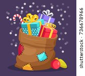 santa claus bag  sack with gift ... | Shutterstock .eps vector #736678966