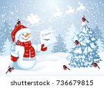 christmas card with funny... | Shutterstock .eps vector #736679815