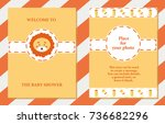baby shower cute card. vector... | Shutterstock .eps vector #736682296
