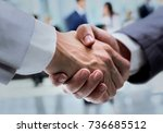 business handshake and business ... | Shutterstock . vector #736685512