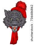 the head bared ferocious wolf ...   Shutterstock .eps vector #736686862