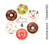 christmas collection of glazed... | Shutterstock .eps vector #736686982