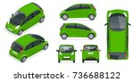 small compact electric vehicle... | Shutterstock .eps vector #736688122