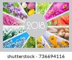 seasonal calendar for 2018 year.... | Shutterstock . vector #736694116