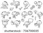 kids with symbols like arrow ...   Shutterstock .eps vector #736700035