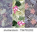 set of three seamless floral... | Shutterstock .eps vector #736701202