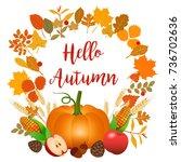 hello autumn illustration with... | Shutterstock . vector #736702636
