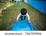 healthy little kids are playing ... | Shutterstock . vector #736705906