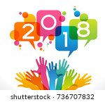 color design with numeral 2018  ... | Shutterstock .eps vector #736707832