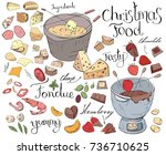 set with festive fondue...   Shutterstock .eps vector #736710625
