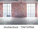 front view of empty red brick... | Shutterstock . vector #736714966