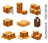 paper box for logistics...   Shutterstock .eps vector #736718746