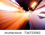car on the road with motion... | Shutterstock . vector #736725082