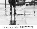 reflection shadow of a young... | Shutterstock . vector #736737622