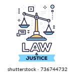 law and justice concept on... | Shutterstock .eps vector #736744732