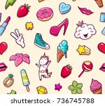 graffiti seamless pattern with... | Shutterstock .eps vector #736745788