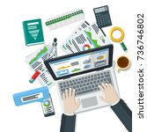 auditing and business concepts. ... | Shutterstock . vector #736746802