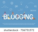 blogging concept of young... | Shutterstock .eps vector #736751572