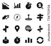 16 vector icon set   crisis ... | Shutterstock .eps vector #736753936