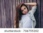 little pretty girl outdoor.... | Shutterstock . vector #736755202