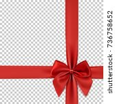 realistic red bow and ribbon... | Shutterstock .eps vector #736758652