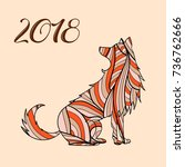 dog symbol of the new year 2018....   Shutterstock .eps vector #736762666