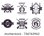 guns and ammo  vintage logos ... | Shutterstock .eps vector #736763962