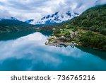 beautiful nature norway natural ...   Shutterstock . vector #736765216