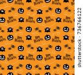 seamless pattern happy... | Shutterstock .eps vector #736766122