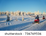 Group Of Snowmobiles In Laplan...