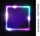 neon sign. night square frame... | Shutterstock .eps vector #736775542
