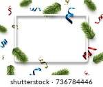 new year background with spruce ... | Shutterstock .eps vector #736784446