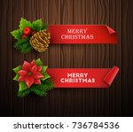 christmas banners set. vector... | Shutterstock .eps vector #736784536