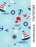 seamless pattern with sailboat  ... | Shutterstock .eps vector #736785385