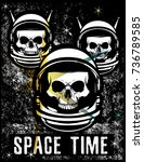 vintage space skull t shirt... | Shutterstock .eps vector #736789585