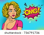wow female face. sexy surprised ... | Shutterstock .eps vector #736791736