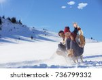 young couple sledding and... | Shutterstock . vector #736799332