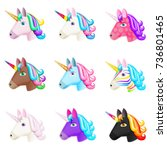 set of realistic vector unicorn ... | Shutterstock .eps vector #736801465