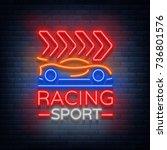 racing sports neon logo emblem... | Shutterstock .eps vector #736801576