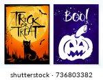 set of 2 halloween card.... | Shutterstock .eps vector #736803382